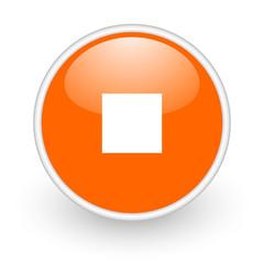 stop orange circle glossy web icon on white background