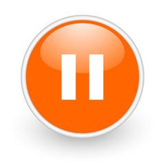 pause orange circle glossy web icon on white background