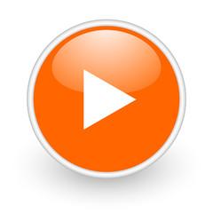 play orange circle glossy web icon on white background