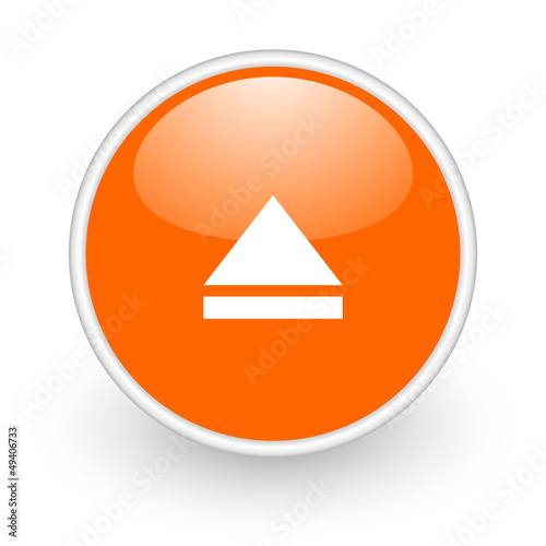 eject orange circle glossy web icon on white background
