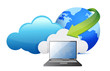 laptop cloud computing moving concept