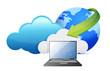 laptop cloud computing moving concept