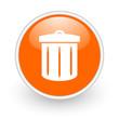 recycle orange circle glossy web icon on white background