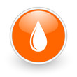 water drop orange circle glossy web icon on white background