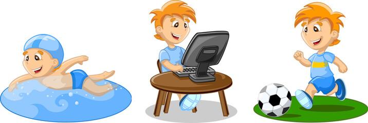 Мальчик плавает, играет в футбол и работе на компьютере
