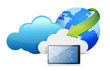 tablet cloud computing moving concept