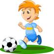 Постер, плакат: Мальчик играет в футбол