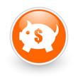 piggy bank orange circle glossy web icon on white background