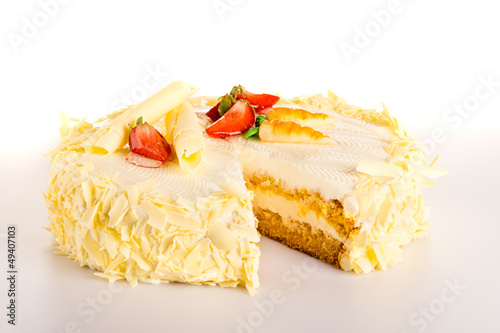 Carrot cake with white chocolate light dessert