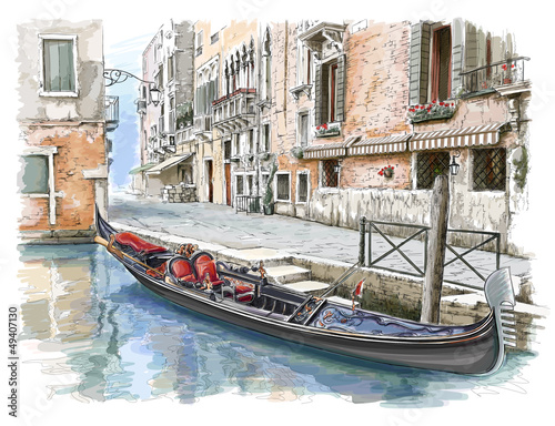 Venice. Ancient building & gondola - 49407130