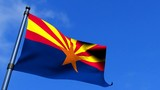 Arizona State Flag Fluttering On Blue Sky HDTV
