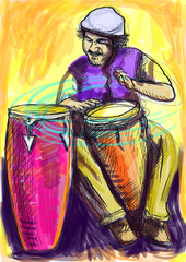 conga player - a hand drawn illustration