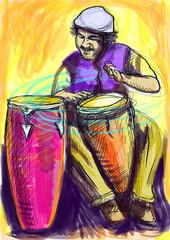 conga player - a hand drawn illustration