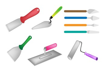 Colorful Illustration Set of Builders Tools Icon