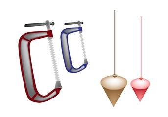 Colorful Illustration Set of Plumb Bob and Clamp
