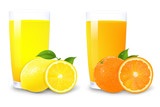 Lemon And Orange Juice And Slices Of Orange