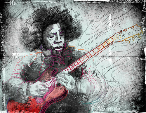 guitarist - a hand drawn grunge illustration © kuco
