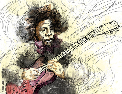 guitarist - a hand drawn grunge illustration - 49407919
