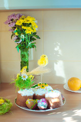 Easter composition of a bouquet of flowers and decorations Easte