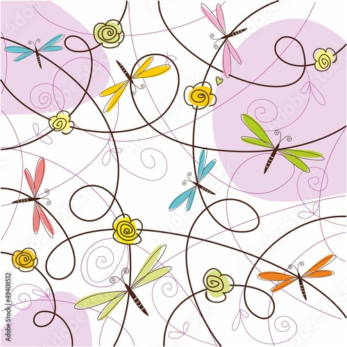 Abstract background with dragonfly. Vector illustration.