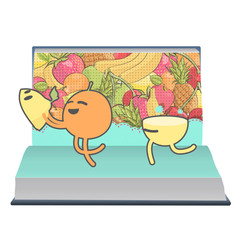 Orange and lemon playing inside a book.