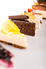 Slice of cake selection delicious tart choice