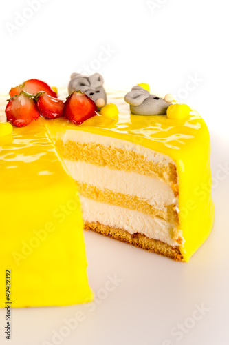 Yellow cake lemon dessert marzipan decoration
