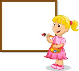 Девушка рисунок на мольберте