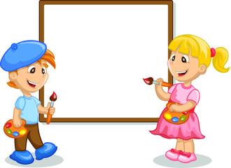 Мальчик и девочка рисунок на мольберте