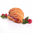 croissant and raspberries