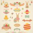Easter set - labels, emblems and other elements.
