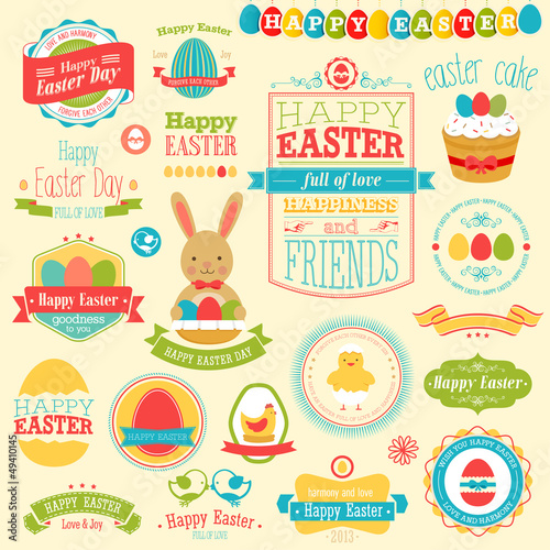 Easter set - labels, ribbons and other elements.