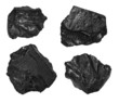 collection black coal isolated on white background