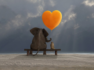 elephant and dog holding a heart shaped balloon