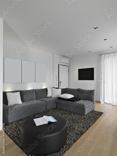divano in tessuto nel soggiorno moderno