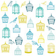 Birds and Birdcages Background -for design or scrapbook -vector