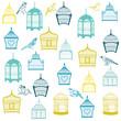 Birds and Birdcages Background -for design or scrapbook -vector