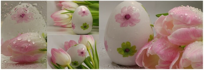 easter collage with egs and pink tulips