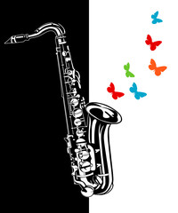 Saxophone on a black and white background