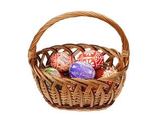 Easter Eggs in wicker basket