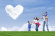 Family stroll and heart clouds