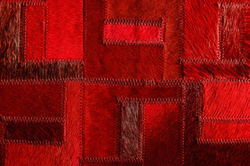 Red real leather patchwork