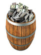A lot of dollars in a wooden barrel. Isolated on white