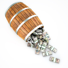 A lot of dollars fall out of a wooden barrel. Isolated on white