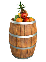 Fruits in a wooden barrel. High res 3d render. Isolated on white