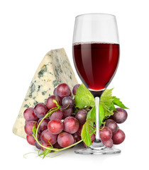Wineglass, cheese and grapes