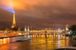 Eiffel Tower and Pont Alexandre III at night, Paris, France.