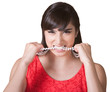 Frustrated Woman Chewing on Necklace
