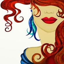 visage d'une femme avec les cheveux rouges