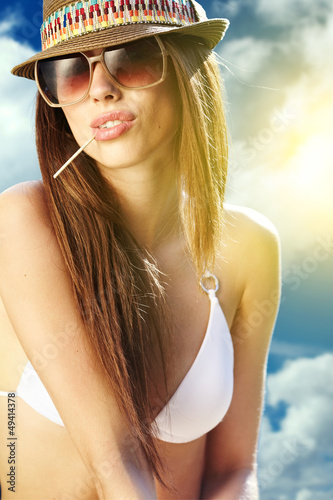 portrait of a beautiful girl in the sky